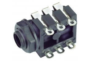 Horizontal 3-Conductor 1/4 in Jack, PC board mount